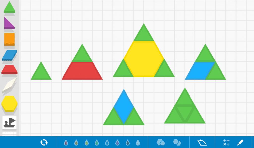 formas geométricas con pattern blocks triangulos manipulativos